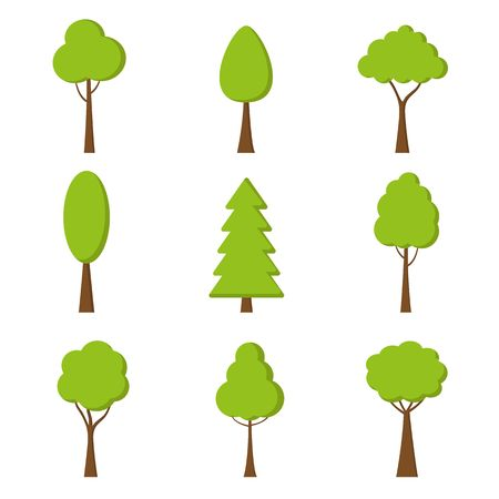 Tree icon. Vector. Nature symbol in flat design. Green forest plants. Collection of design elements.