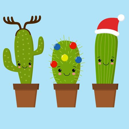 Merry Christmas card. Cactus in a Christmas hat. Cute greeting card. 版權商用圖片