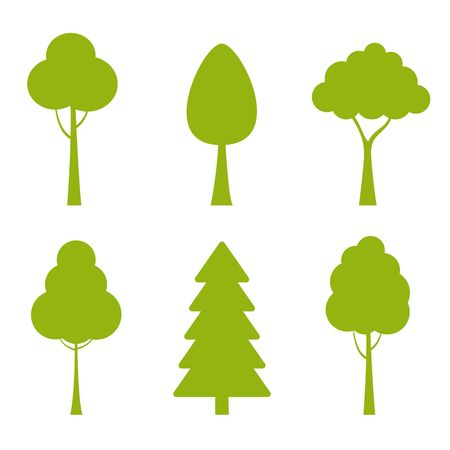 Collection of trees illustrations. Can be used to illustrate any nature or healthy lifestyle topic. vector Çizim