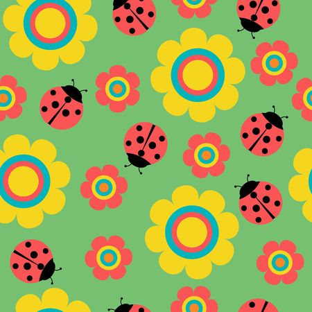Seamless pattern with flowers and ladybirds on green vector Çizim