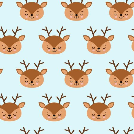 Seamless childish pattern with cute deer. Creative kids texture for fabric, wrapping, textile, wallpaper, apparel. Vector illustration.