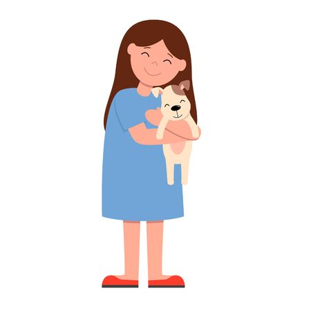 Laughing girl in blue dress holding and strongly cuddling dog. Isolated vector illustration of happy kid and pet.