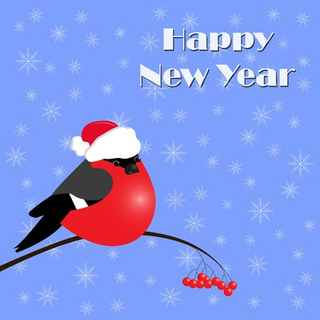 New Year Greeting Card with red bullfinches, Vector Illustration Çizim