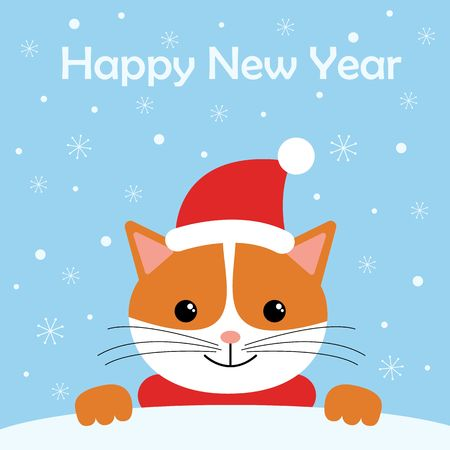 Greeting card with cute cat wear winter outfits. Happy holidays cartoon character vector. Çizim