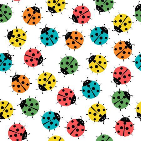 ladybugs in colors seamless pattern, abstract texture vector art illustration. Çizim
