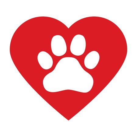 Hundepfote im roten Herzen auf weißem Hintergrundvektor