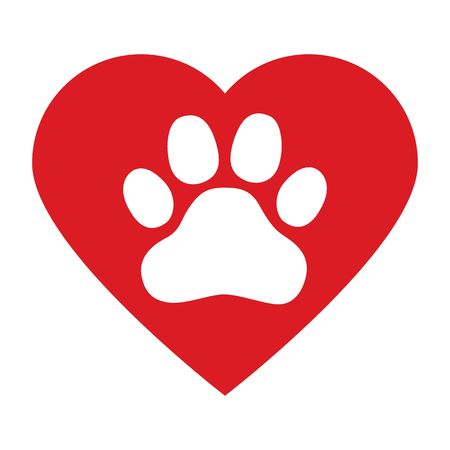 dog paw in red heart on white background vector
