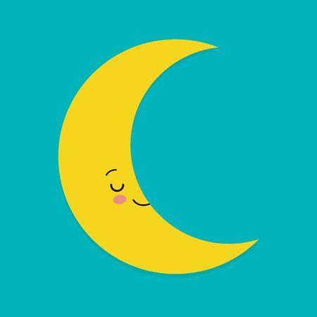 Smiling Cute Moon Cartoon Mascot Character. Vector Illustration.