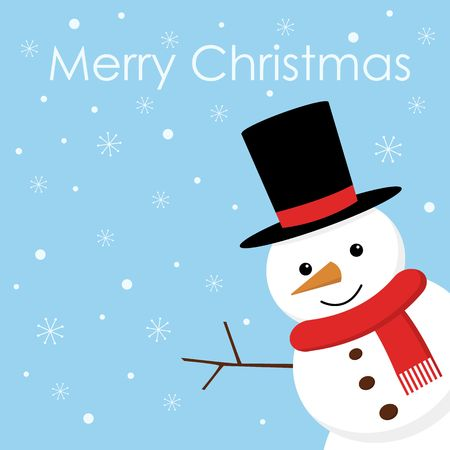 Merry Christmas. Christmas card with cute snowman, gift, holiday, vector winter background