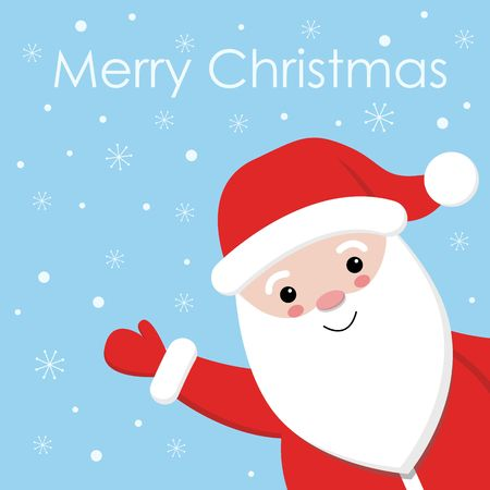 Cute Santa on snowing design with blue background vector