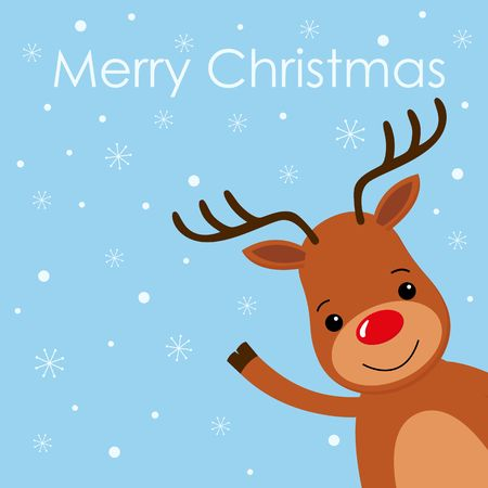 Christmas card with a cute reindeer character vector