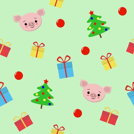 Seamless Christmas pattern with gifts, cute pig, christmas tree Vector illustration for textile, postcard, wrapping paper, poster, background, book, t-shirt. new year