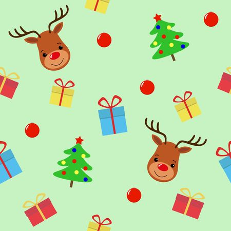 Merry Christmas with deer seamless pattern. Holiday cartoon vector. Cute wildlife animal character. Happy new year background.