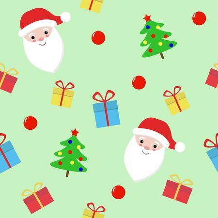 Vector Christmas and New Year seamless pattern with Santa Claus. Vector Santa Claus Çizim