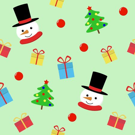 Snow man with gift seamless pattern. Cute Christmas holidays cartoon character background. vector