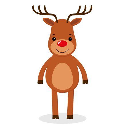 Santa s Reindeer. Vector illustrations of Cute Reindeer on White Background. cartoon