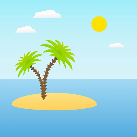 Tropical island with palm trees vector illustration. ocean