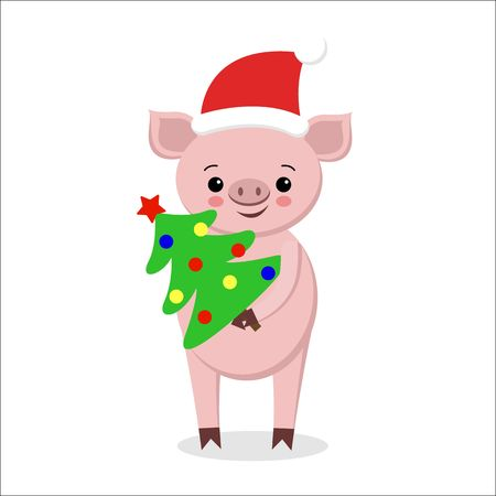 postcard with funny pig in Santa hat, scarf with ornament and christmas tree, happy New Year, cute cartoon character, Merry Christmas