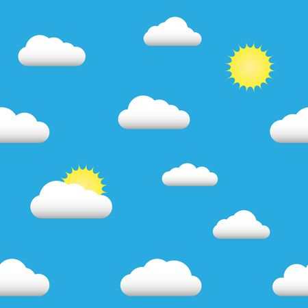 Flat illustration seamless pattern of the sun, clouds. vector Çizim