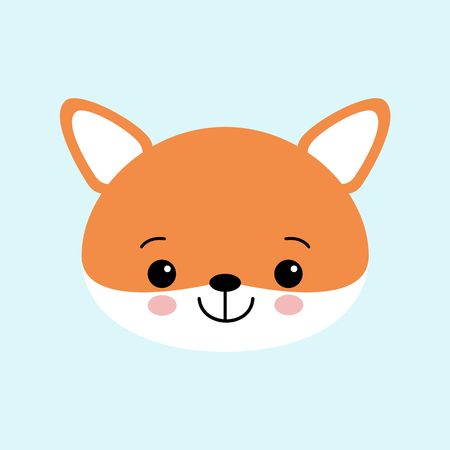 Vector illustration of cute fox. Childish background with smiling cartoon character.