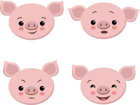 Collection of cute pigs in cartoon style. Vector set isolated emotion pig illustration
