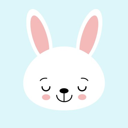 Cute bunny vector graphic icon. White rabbit animal head, face illustration. Isolated on blue background.