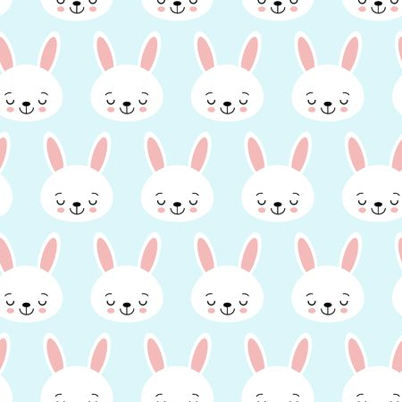 Seamless pattern with cartoon bunnies for kids. Abstract art print. background with cute animals. Vector illustration.