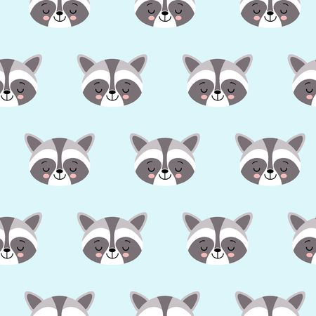 raccoon cute seamless pattern, cartoon background, vector flat illustration Vettoriali