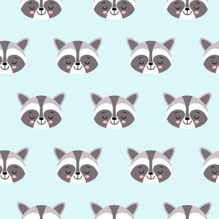 raccoon cute seamless pattern, cartoon background, vector flat illustration Illustration