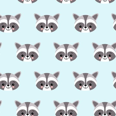 raccoon cute seamless pattern, cartoon background, vector flat illustration Çizim