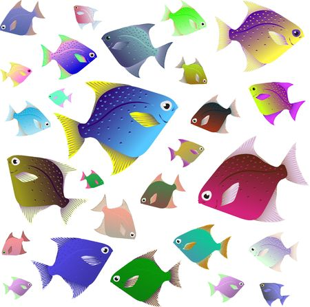 Tropical fish collection isolated on white background vector
