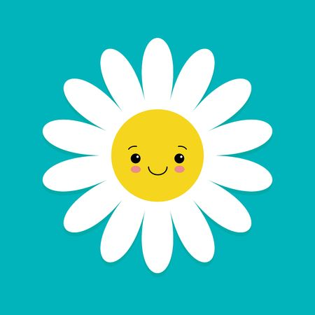 White daisy chamomile with face head. Cute flower plant collection. Love card. Camomile icon. Cute cartoon smiling character. Growing concept. Flat design. Blue background. Vector illustration.