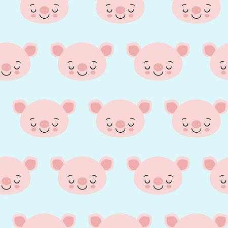 pig animal seamless pattern, cute cartoon animals background, vector illustration flat
