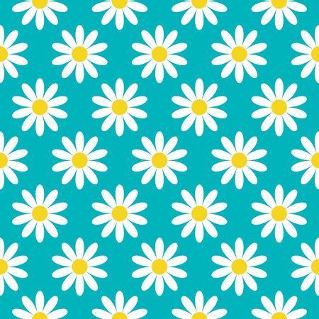 White daisy chamomile icon. Cute flower plant collection. Growing concept. Seamless Pattern Wrapping paper, textile template. Blue background.
