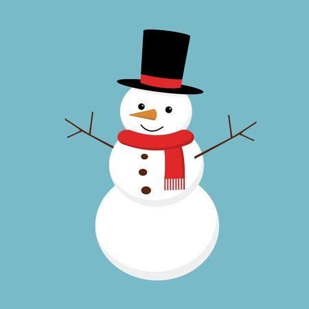 Christmas snowman isolated on background. Vector cartoon illustration