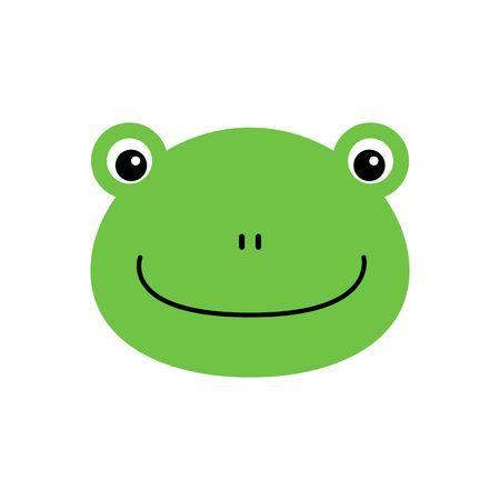 Cartoon animal, cute frog on white backgrounds. Flat design. Vector Illustration. Ilustração