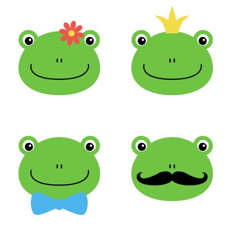 Cute green frog with flower, crown, bow, mustache cartoon character isolated on white background.