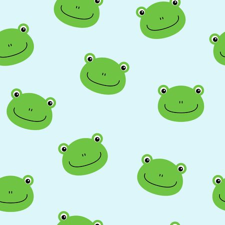 Seamless pattern with cute frogs. Vector background for kids.
