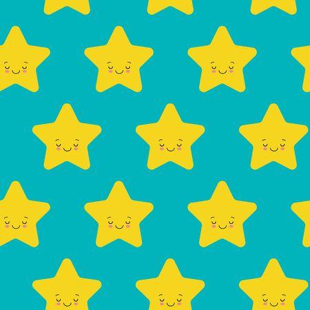 Vector illustration. Seamless pattern with falling cute yellow stars white background. Weather symbol. Çizim