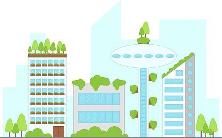 Future urban landscape with buildings. Vector illustration. street