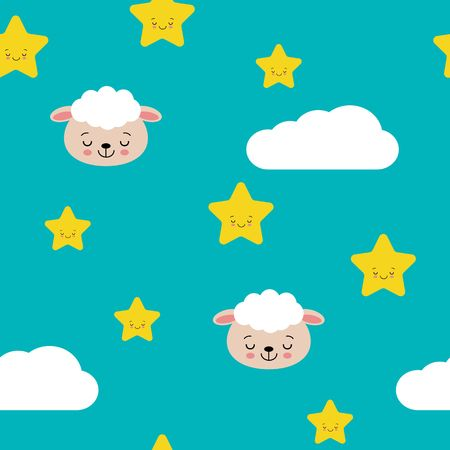 Seamless pastel cute sheep with cloud and star pattern vector illustration.