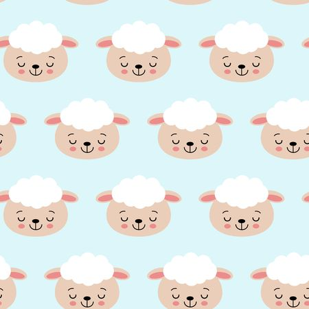Seamless pattern with cute sheep on blue. Vector background for kids. Çizim