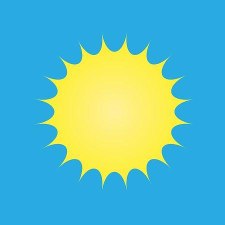 Vector yellow sun symbol on blue background summer