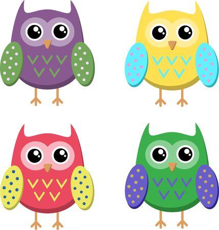 Cute cartoon owls icons, bright owls vector illustration. Çizim