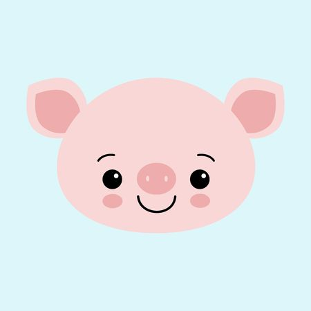 Cute pink pig. Happy New Year. Chinese symbol of the 2019 year. Excellent festive gift card. Vector illustration.