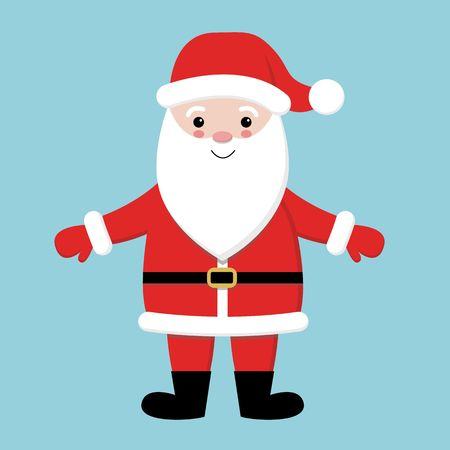 Merry Christmas. Santa Claus wearing red hat, costume, big beard. Cute cartoon kawaii funny character with open hands. Blue background. Greeting card. Vector Çizim
