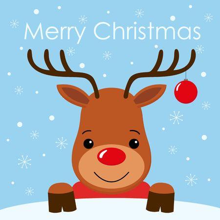 Cute cartoon deer face with horn Merry christmas background card Flat design Vector illustration