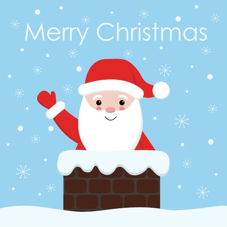 vector santa claus with a bell in chimney. Christmas and new year santa illustration.