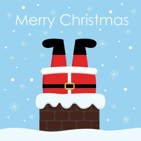 Santa Claus stuck in the Chimney. Christmas vector background Çizim