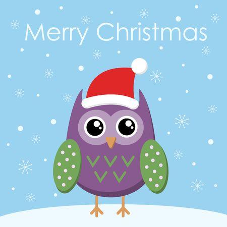 Merry Christmas Greeting card Flat owl in santa hat. Vector illustration.